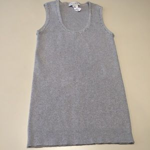 Celine Grey Fitted Ribbed Tank Metallic Trim read